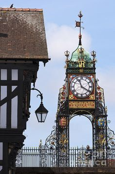 Clock in Chester by Andrew Michael Chester Cheshire, Cheshire England, Range Rover Classic, Tic Toc, Old Clocks, England Uk, British Isles, Great Britain, Big Ben