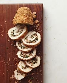 Whole-grain crackers and walnuts stand in for breadcrumbs to coat the chicken. Mushrooms add a smoky finish to the stuffing and provide iron, along with the spinach.