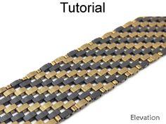 2 Hole Miyuki Half Tila Diagonal Elevation Beaded Bracelet Beading Pattern Tutorial   Simple Bead Patterns