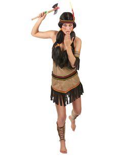 Déguisement indienne femme : Ce déguisement d'indienne pour femme se compose d'une robe type dos nu qui s'attache par le cou.La robe est élastique, elle s'adaptera donc parfaitement à votre...