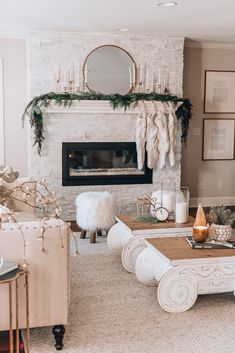 The Chicest Last Minute Christmas Mantle Decorating Inspiration - Living After Midnite - Cozy Christmas Holiday Decor Tree Garland Mantle - Christmas Mantels, Cozy Christmas, Rustic Christmas, White Christmas, Christmas Decorations, Christmas Bedroom, Modern Christmas Decor, Christmas Ideas, Garland Mantle Christmas