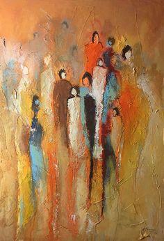 """SOLD - modernes Bild Malerei 70x50 cm Menschen """"Mittendrin II"""" - ein Designerstück von Dworzak bei DaWanda #painting #bild #malerei #acrylmalerei #people"""