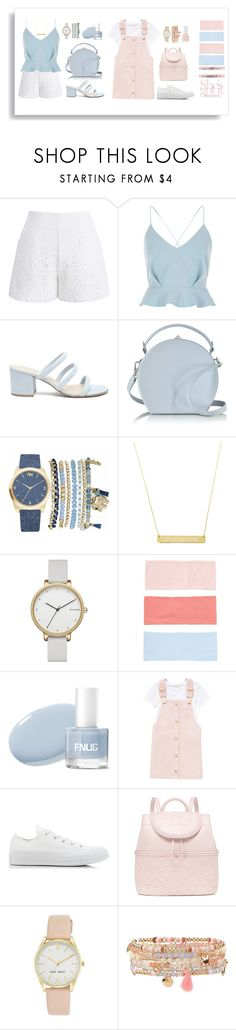 """Korean-ish Outfit"" by yumifujiwara ❤ liked on Polyvore featuring Chicwish, River Island, Forever 21, Bertoni, Mixit, Skagen, Converse, Tory Burch, Nine West and Accessorize"