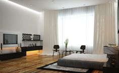 Fabulous Modern Bedroom With Grey Bed And Wooden Flooring Also Large White Curtain