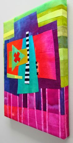 Fibermania: Stepping Out Hand dyed cottons, silks, and one commercial stripe. Fused to batting and wrapped onto a cradled wood panel. Colorful Quilts, Small Quilts, Mini Quilts, Scrappy Quilts, Quilting Projects, Quilting Designs, Quilting Ideas, Elephant Quilt, Quilt Modernen