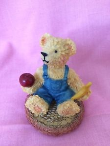 Leonardo Collection Tender Teddies Collectible Seated Bear Holding Apple Banana  | eBay