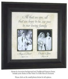 Parents Wedding Gift, Wedding Frame for Mother Father of the Bride Groom, Personalized Picture Frame for Parents, All That We Are, 16x16 by PhotoFrameOriginals on Etsy (null)