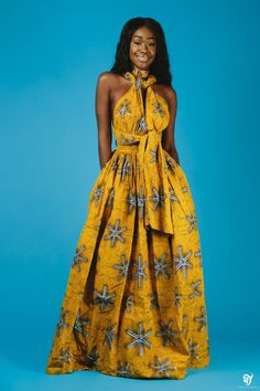 Maxi INFINITY in yellow * end of year clearance*. Can be worn more than 6 different ways. Made with cotton high quality African print wax fabric. African Inspired Fashion, African Print Fashion, Africa Fashion, Ethnic Fashion, Look Fashion, Fashion Prints, African Attire, African Wear, African Women