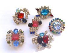 Vintage Czech Buttons Set of 6 Rhinestone DIY by CrimsonVintique, $38.00