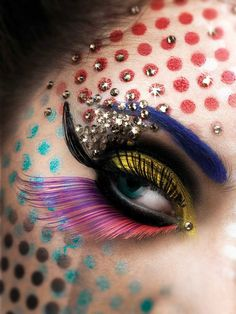 Flamboyant, creative and colorful embellished fantasy eye makeup by Thananon Thanakornkarn.