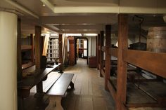 interior of ship. Notice the beautiful wood