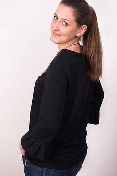 Čierna tunika s volánom #detskamoda#jedinecnesaty#handmade#originalne#slovakia#slovenskydizajn#móda#šaty#original#fashion#dress#modre#ornamental#stripe#dresses#vyrobenenaslovensku#children#fashion#rucnemalovane Ruffle Blouse, Tops, Women, Fashion, Tunic, Moda, Fashion Styles, Fashion Illustrations, Woman