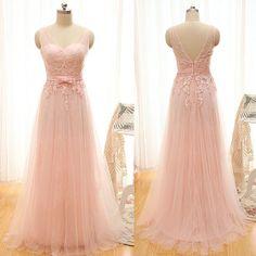 Long Prom Dress,Organza Prom Dress,Backless Prom Gown,Appliques Evening Dress,Elegant Homecoming Dress