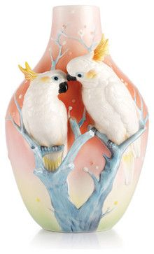 Franz Porcelain Collection Sweet Companions Sulphur Crested Cockatoo Vase