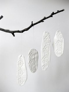 ceramic and lace - maybe with oven or air dry clay