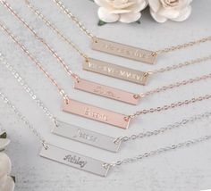 Gold, Rose Gold, or Silver Bar Necklace, Name Bar Necklace, Personalized hand stamped 14K Gold Filled Bar, Perfect layering necklace