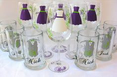 Wedding party glasses, wine glasses and beer mug.  Bridesmaids and Groomsman gifts.  Plum purple dress and Groomsmen vest glasses. 1 glass