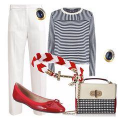 """Ispirazione """"marinara"""" per questo outfit. Pantalone bianco di linea classica, blusa manica lunga rigata bianca e blu. Ballerina rossa. Borsa white off blu e rossa con manico e tracolla. Orecchini con pietre blu, bracciale intrecciato rosso e bianco con ancora."""