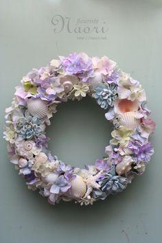 貝殻と紫陽花のリース ブルー×パープル