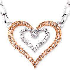 Round Diamond Twin Heart Pendant in 14k White and Rose Gold    #Angara #Wedding