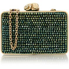 Wilbur & Gussie Flora Green Clutch Bag ($245) ❤ liked on Polyvore featuring bags, handbags, clutches, green, green handbag, green clutches, box clutch, chain purse and green purse