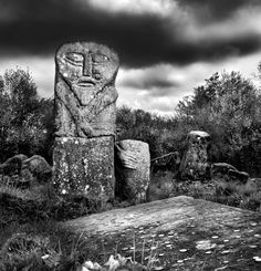 The Janus Figure is believed to be between 2000 and 3000 years old and stands about 4 feet high in Caldragh Cemetery, an ancient burial ground on Boa Island in Northern Ireland.