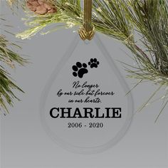 Everyday without your beloved pet can be incredibly tough, but with this Personalized No Longer By Our Side Pet Tear Drop Ornament, you can keep their memory close to your heart. Dog Christmas Ornaments, Memorial Ornaments, Christmas Dog, Word Art Design, Pet Names, Pet Memorials, Dog Paws, Your Pet, Personalized Gifts