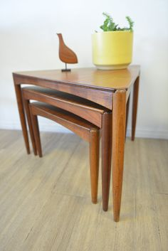 Danish Modern Walnut Triangle Nesting Tables By TheModernVault, $1195.00 |  Mid Century Furniture And Accessories | Pinterest | Danish Modern, Modern  And Mid ...