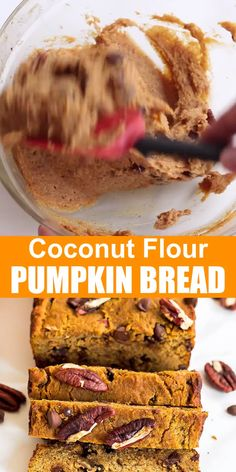 These moist Coconut Flour Pumpkin Bread slices make a perfect healthy treat or even breakfast. This pumpkin loaf is gluten free, clean eating, paleo, and can easily be made low carb or keto friendly. #pumpkin #coconutflour #loaf #bread #glutenfree #paleo #lowcarb #keto #pumpkinbread #pumpkinspice #healthy #quickbread #recipe