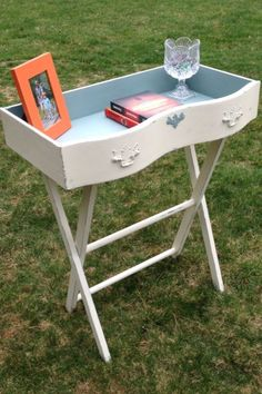 Vintage drawer upcycled into a cubby-style accent table. Painted with Annie Sloan Old White and Duck Egg blue. Created by MaryElizabeth Originals