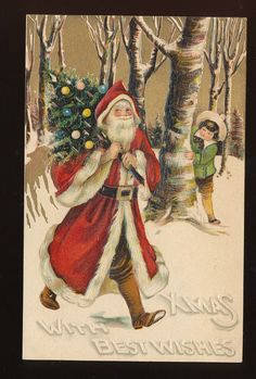SANTA CLAUS WITH CHILD, TREE~ EMBOSSED CHRISTMAS POSTCARD-BB LONDON-ppp486 #Christmas