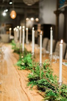 so simple and pretty. love the cedar garland for the table. definitely doing this for our family dinner.