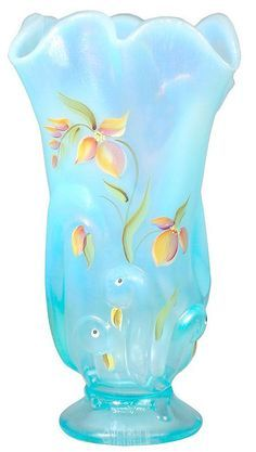 *FENTON ART GLASS ~ Aquamarine Opalescent Stretch Swung vase is hand painted w/a tropical floral pattern + a few birds too Fenton Glassware, Vintage Glassware, Vintage Vases, Cut Glass, Glass Art, Glass Bottles, Perfume Bottles, Carnival Glass, Glass Collection