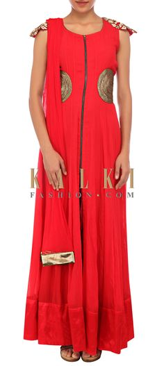 Buy Online from the link below. We ship worldwide (Free Shipping over US$100) http://www.kalkifashion.com/red-anarkali-suit-featuring-in-lace-embroidery-only-on-kalki.html