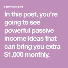 In this post, you're going to see powerful passive income ideas that can bring you extra $1,000 monthly. Online Business From Home, Online Work From Home, Work From Home Jobs, Make Easy Money Online, Earn Money From Home, Way To Make Money, Make Money From Pinterest, Get My Life Together, Making Extra Cash