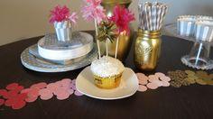 Fringe Cake Topper & Paint Sample Confetti. #DIY #craft #partydecor #tablescape #pinkandgold #caketopper #entertaining #events.