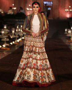 Floral Printed Lengha Set with Velvet Jacket - Rohit Bal - Designers