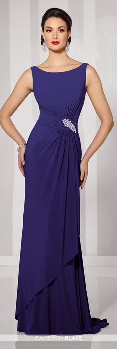 Cameron Blake - 216690 - Sleeveless jersey sheath with bateau neckline, ruched natural waistband with hand-beaded motif at side, V-back, layered side draped skirt with sweep train. Matching shawl included.Sizes: 4 - 20, 16W - 26WColors: Mink, Indigo, Wine