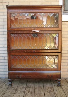 Barristeru0027s Bookcase With Leaded Glass Doors