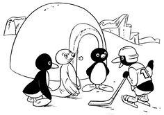 Pingu Fargelegging for barn. Tegninger for utskrift og fargelegging nº 7