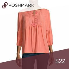 St. John's Bay 3/4 Sleeve Y Neck Blouse-Talls Sleeve Length: 3/4 Sleeve Neckline: Y Neck Fabric Description: Rayon Fabric Content: 100% Rayon Care: Machine Wash, Line Dry Country of Origin: Imported St. John's Bay Tops Blouses