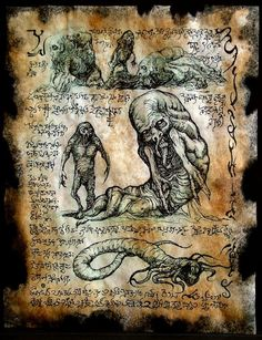 cthulhu Children of the Worm Necronomicon Fragments by zarono Hp Lovecraft, Lovecraft Cthulhu, Fantasy Rpg, Dark Fantasy, Necronomicon Lovecraft, Call Of Cthulhu Rpg, Lovecraftian Horror, Arte Obscura, Occult Art