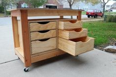 Tool Cart / Workbench.  Places I could use this: sewing room, workshop, kitchen nook (for serving with hutch-like storage), kids rooms (for toys, craft or school supplies).  Other places, anyone?