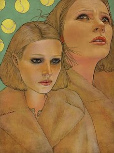 Artist: Wes Anderson {contemporary artist female heads portraits painting}