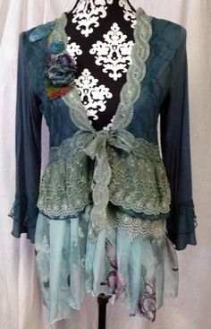 upcycled steampunk victoriana bohemian springtime green fairy jacket with lace and ribbon roses and lots of lace