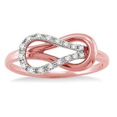 "1/5ct Round Cut Diamond ""Love knot"" Pink Gold Ring in 14kt Gold"