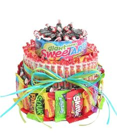 The Ultimate Candy Birthday Cake at From You Flowers Cheap Clean Eating, Clean Eating Snacks, Candy Birthday Cakes, Birthday Gifts, Pistachio Cake, Bowl Cake, Cookie Bouquet, Zucchini Cake, Salty Cake