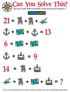 Free Math Puzzles for All Ages! Math Riddles With Answers, Brain Teasers With Answers, Math Puzzles Brain Teasers, Maths Puzzles, Chess Puzzles, Logic Math, Math Humor, Math Memes, Math Facts