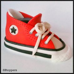 Custom fondant cake topper  high top shoe birthday by SEtoppers