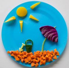 Fun food art Beach Salad - all veggies summer snack.  maybe put some dip for water....